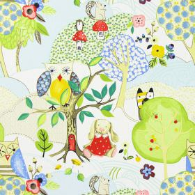 Woodland Friends - Summer - White IKEA fabric with modern childrens drawing of forests and woodland animals in summer colours