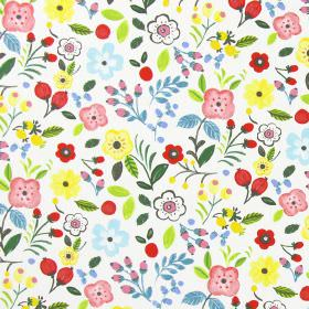 Sweet Briar - Summer - Summer red and yellow modern summertime flowers on white fabric