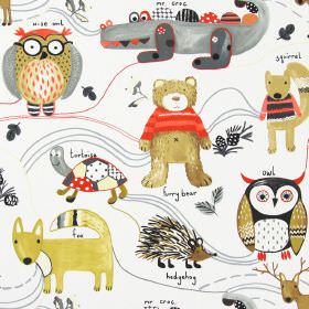 Nature Trail - Scarlet - White childrens fabric with simple colourful forest animals