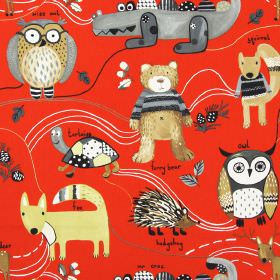 Nature Trail - Red - Red childrens fabric with simple colourful forest animals