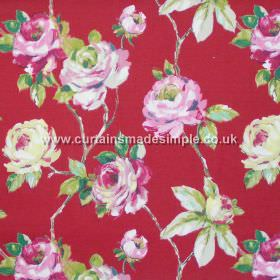 Amaya - Lacquer Red - Watercoloured roses on branches in pink on lacquer red fabric