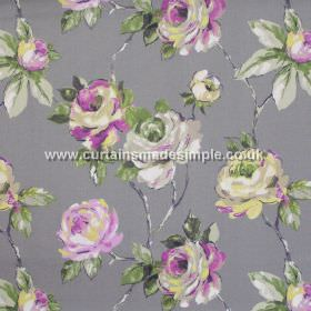 Amaya - Smoke - Watercoloured roses on branches in pink on smoke grey fabric