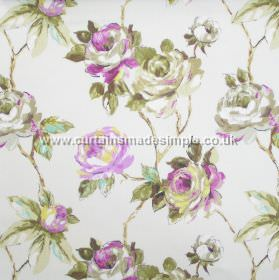Amaya - Mulberry - Watercoloured roses on branches in mulberry purple on white fabric