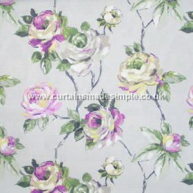 Amaya - Stone - Watercoloured roses on branches in pink on stone grey fabric