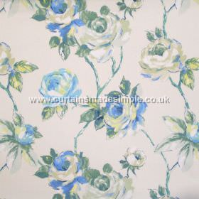 Amaya - Porcelain - Watercoloured roses on branches in blue on porcelain white fabric