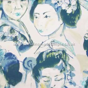 Kimono - Porcelain - Porcelain blue images of traditionally dressed Japanese women