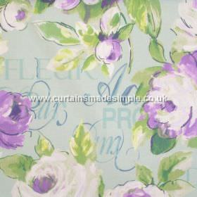 Lotus - Heather - Deep purple watercoloured flowers and grey text on light green fabric