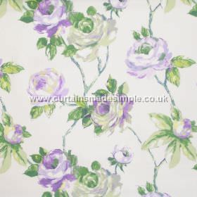 Amaya - Heather - Watercoloured roses on branches in deep purple on white fabric