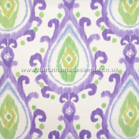Saki - Heather - Modern drop-shaped design in deep purple on white fabric