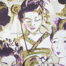 Kimono - Mulberry - Mulberry purple images of traditionally dressed Japanese women