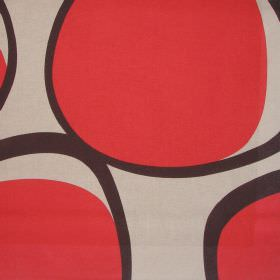 Opal - Fire - Light brown cotton fabric with large black and red modern circular design