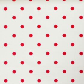Full Stop - Ruby - White fabric with red spots
