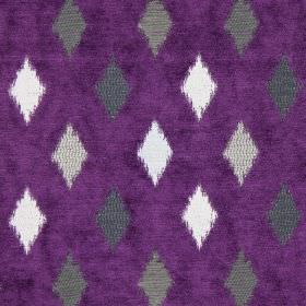 Fanfare - Damson - Small grey diamonds on damson purple fabric