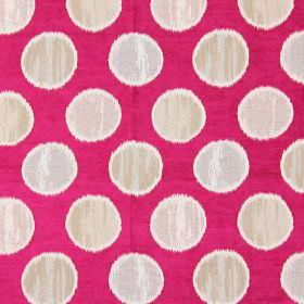 Carousel - Fuchsia - White spots on fuchsia pink fabric