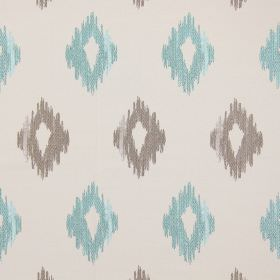 Wurlitzer - Azure - Modern azure blue diamond shapes on sandy fabric