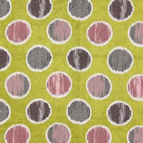 Carousel - Avocado - Purple spots on avocado green/yellow fabric