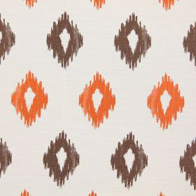 Wurlitzer - Jaffa - Modern jaffa orange diamond shapes on white fabric