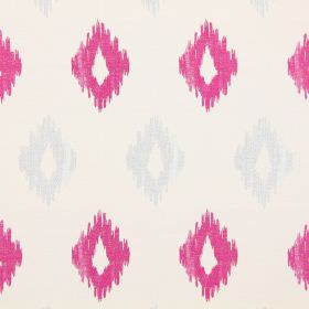 Wurlitzer - Fuchsia - Modern fuchsia pink diamond shapes on white fabric