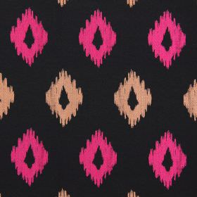 Wurlitzer - Tutti Frutti - Modern tuttifrutti pink diamond shapes on black fabric