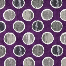 Carousel - Damson - Grey spots on damson purple fabric