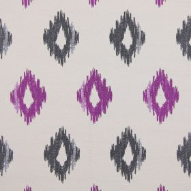 Wurlitzer - Heather - Modern heather purple diamond shapes on grey fabric