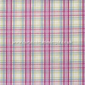 Country Check - Mulberry - Mulbwerry purple and blue plaid pattern on white fabric