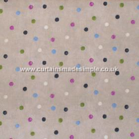 Country Spot - Mulberry - Colourful spots on sandy/grey fabric