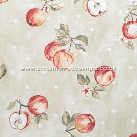 Apple Blossom - Cinnamon - Cinnamon red apples and white dots on sandy fabric