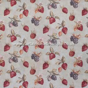 Bramble - Cinnamon - Strawberries and brambles in cinnamon red on grey fabric