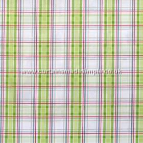 Country Check - Harvest - Harvest green and blue plaid pattern on white fabric