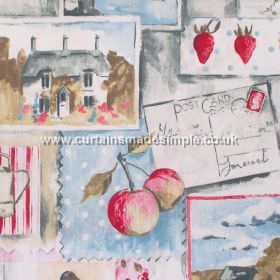 Country Life - Linen - Rural postcard images in red on linen coloured background