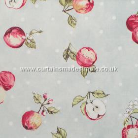Apple Blossom - Linen - Red apples and white dots on light grey fabric