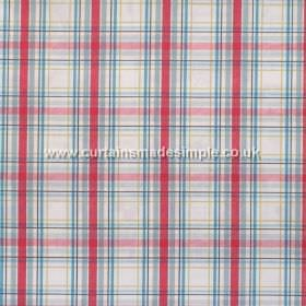 Country Check - Linen - Red and blue plaid pattern on white fabric