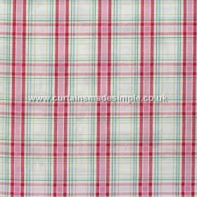 Country Check - Chintz - Chintz pink and green plaid pattern on white fabric