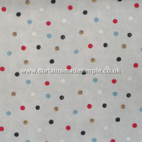 Country Spot - Linen - Colourful spots on linen grey fabric