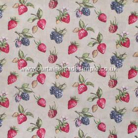 Bramble - Chintz - Strawberries and brambles on light grey fabric