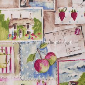 Country Life - Mulberry - Rural postcard images in mulberry pink on sandy background