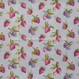 Bramble - Duck Egg - Strawberries and brambles on duck egg blue fabric