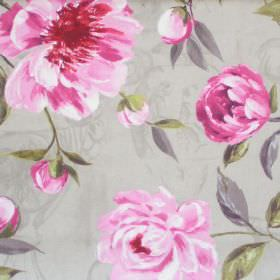 Full Bloom - Elephant - Pink blooming flowers on elephant grey fabric