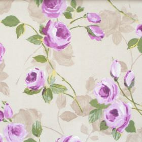 Melrose - Mulberry - Mulberry purple flowers blooming on light green fabric