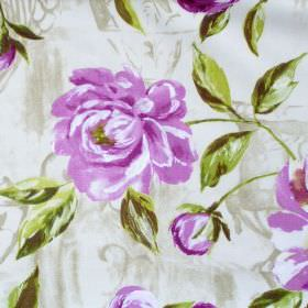Full Bloom - Lavender - Lavender purple flowers blooming on light green fabric