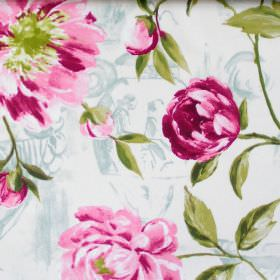 Full Bloom - Peony - Peony pink flowers blooming on light blue fabric