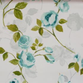 Melrose - Duck Egg - Duck egg blue flowers blooming on light sandy fabric