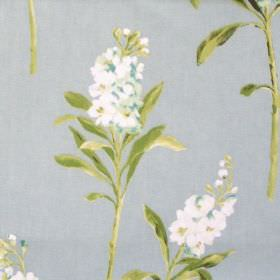 Stocks - Duck Egg - White flowers blooming on duck egg blue fabric