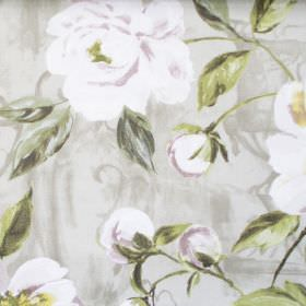 Full Bloom - Willow - White flowers blooming on willow green fabric