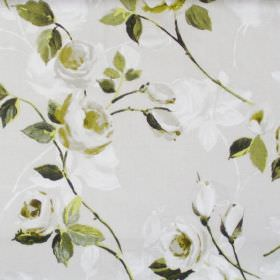 Melrose - Willow - White flowers blooming on willow green fabric