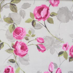 Melrose - Elephant - Pink blooming flowers on elephant grey fabric