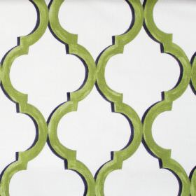 Avebury - Willow - White fabric with classic decorative pattern in willow green