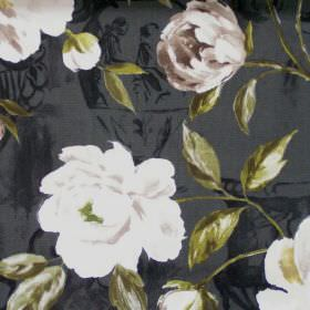 Full Bloom - Greenstone - White flowers blooming on greenstone green fabric