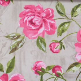Full Bloom - Pomegranite - Pomegranite pink flowers blooming on grey fabric